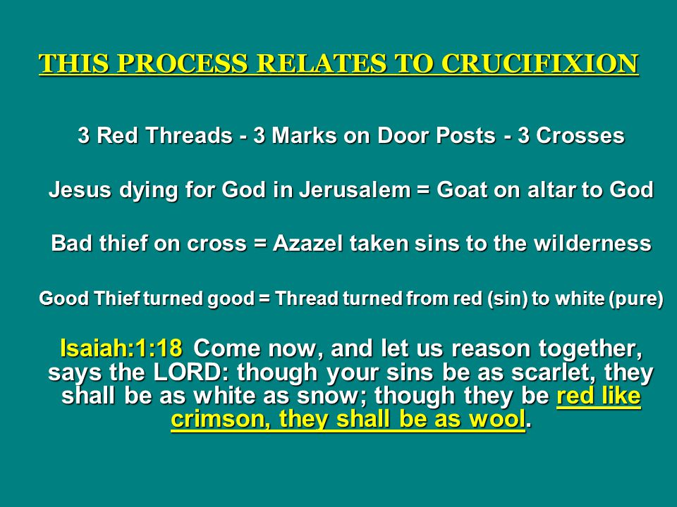 THIS PROCESS RELATES TO CRUCIFIXION 3 Red Threads - 3 Marks on Door Posts - 3 Crosses Jesus dying for God in Jerusalem = Goat on altar to God Bad thief on cross = Azazel taken sins to the wilderness Good Thief turned good = Thread turned from red (sin) to white (pure) Isaiah:1:18 Come now, and let us reason together, says the LORD: though your sins be as scarlet, they shall be as white as snow; though they be red like crimson, they shall be as wool.