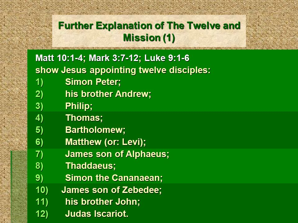 Further Explanation of The Twelve and Mission (1) Matt 10:1-4; Mark 3:7-12; Luke 9:1-6 show Jesus appointing twelve disciples: 1)Simon Peter; 2)his brother Andrew; 3)Philip; 4)Thomas; 5)Bartholomew; 6)Matthew (or: Levi); 7)James son of Alphaeus; 8)Thaddaeus; 9)Simon the Cananaean; 10) James son of Zebedee; 11)his brother John; 12)Judas Iscariot.