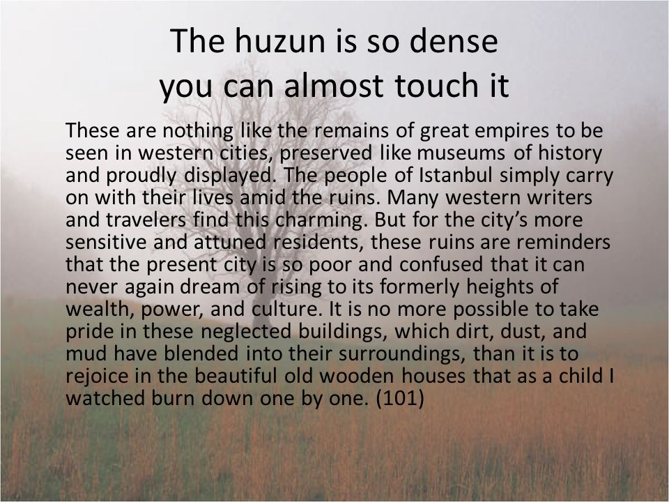 Huzun by choice Istanbul does not carry its huzun as an illness for which there is a cure or an unbidden pain from which we need to be delivered : It carries its huzun by choice.