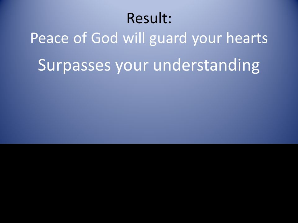 Result: Peace of God will guard your hearts Surpasses your understanding