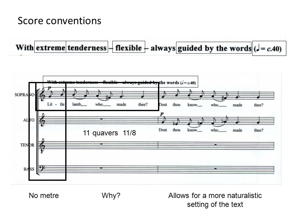 Score conventions No metre 11 quavers 11/8 Why?Allows for a more naturalistic setting of the text