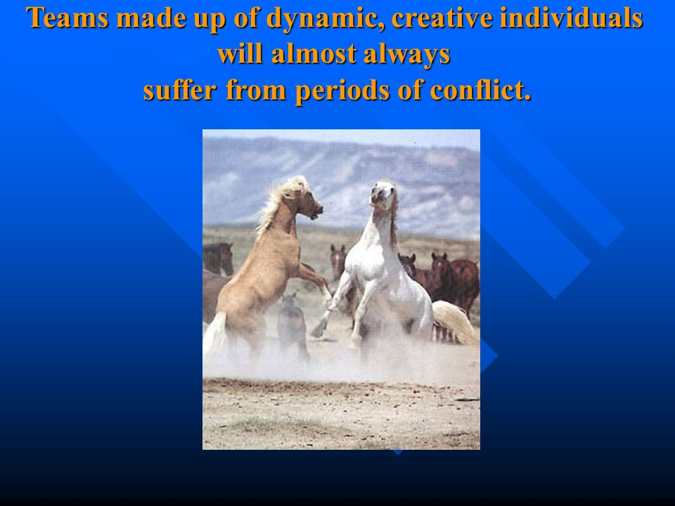 Teams made up of dynamic, creative individuals will almost always suffer from periods of conflict.