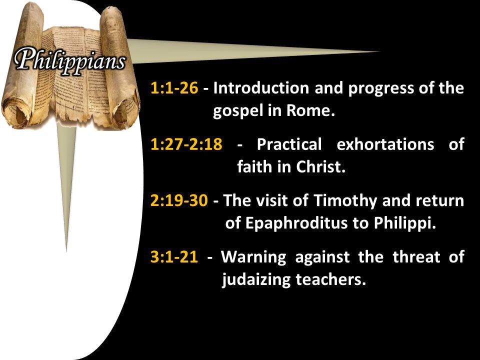 1:1-26 - Introduction and progress of the gospel in Rome.