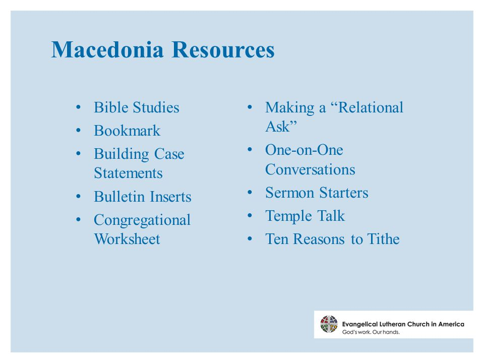Macedonia Resources Bible Studies Bookmark Building Case Statements Bulletin Inserts Congregational Worksheet Making a Relational Ask One-on-One Conversations Sermon Starters Temple Talk Ten Reasons to Tithe