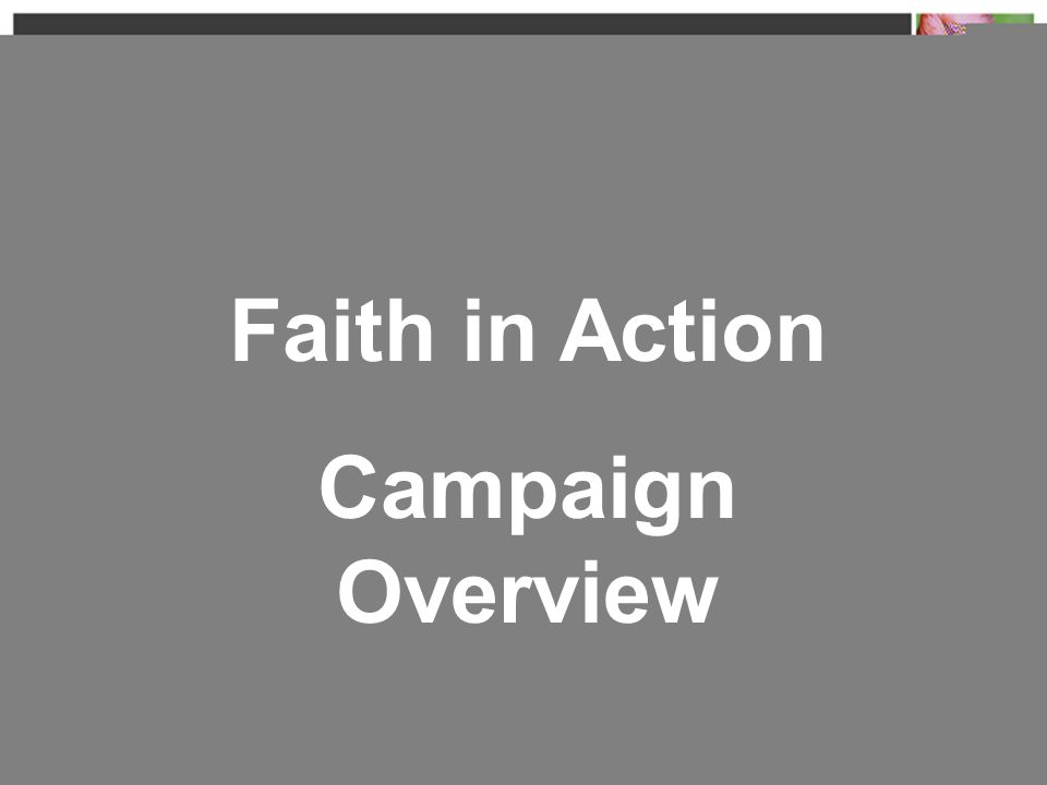 Faith in Action Campaign Overview