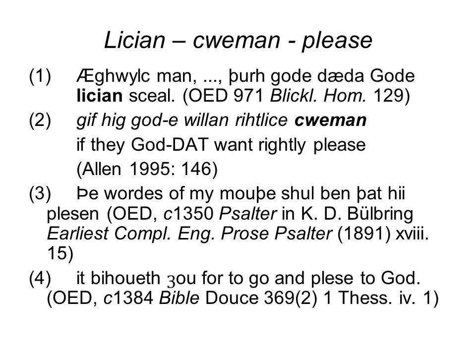 Lician – cweman - please (1)Æghwylc man,..., þurh gode dæda Gode lician sceal. (OED 971 Blickl. Hom. 129) (2)gif hig god-e willan rihtlice cweman if t