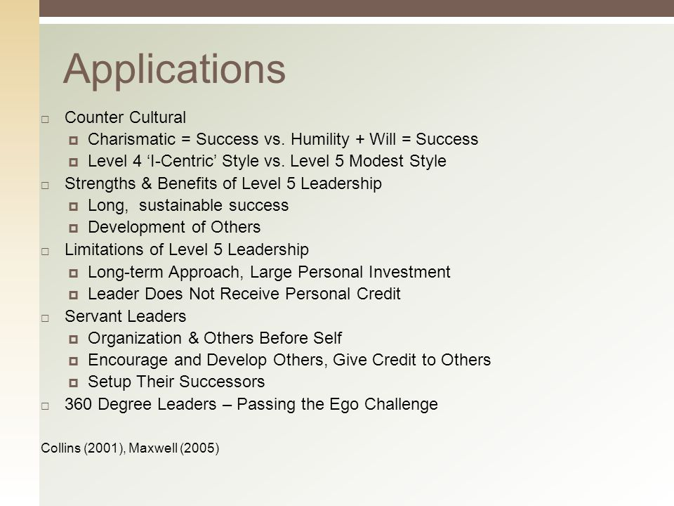 Applications  Counter Cultural  Charismatic = Success vs.
