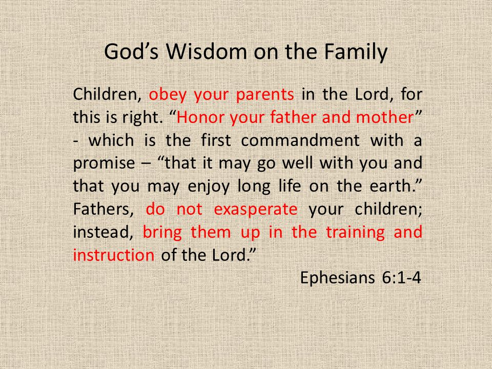 God's Wisdom on the Family Children, obey your parents in the Lord, for this is right.