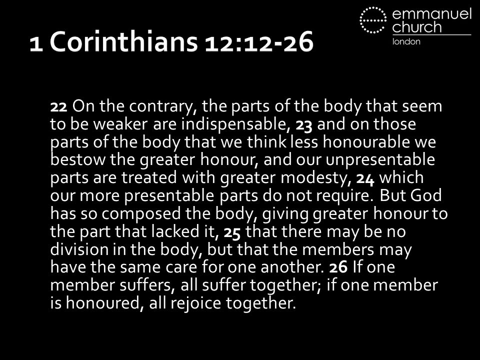 1 Corinthians 12:12-26 22 On the contrary, the parts of the body that seem to be weaker are indispensable, 23 and on those parts of the body that we think less honourable we bestow the greater honour, and our unpresentable parts are treated with greater modesty, 24 which our more presentable parts do not require.