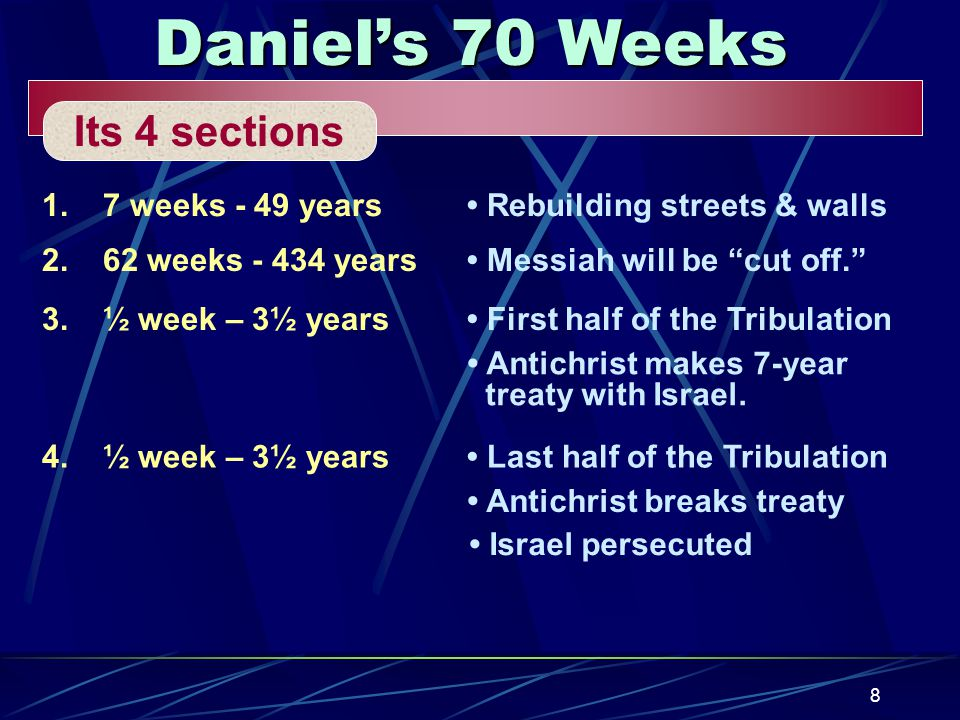 8 Daniel's 70 Weeks Its 4 sections 1.7 weeks - 49 years Rebuilding streets & walls 2.62 weeks - 434 years Messiah will be cut off. 3.½ week – 3½ years First half of the Tribulation Antichrist makes 7-year treaty with Israel.