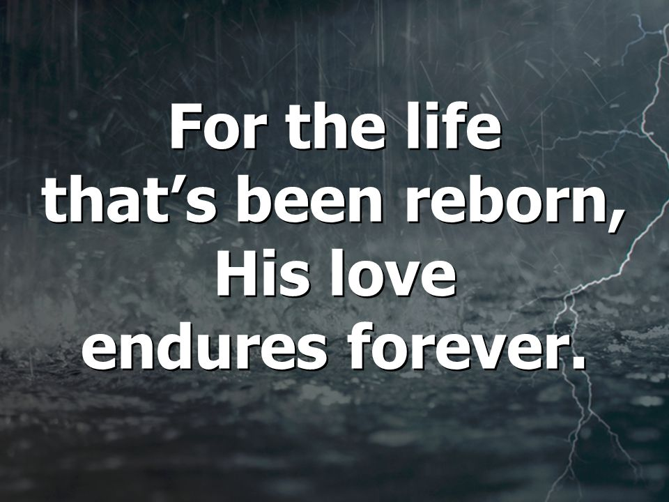 For the life that's been reborn, His love endures forever.