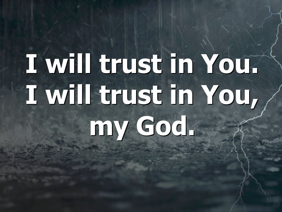 I will trust in You. I will trust in You, my God.