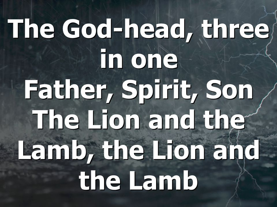 The God-head, three in one Father, Spirit, Son The Lion and the Lamb, the Lion and the Lamb
