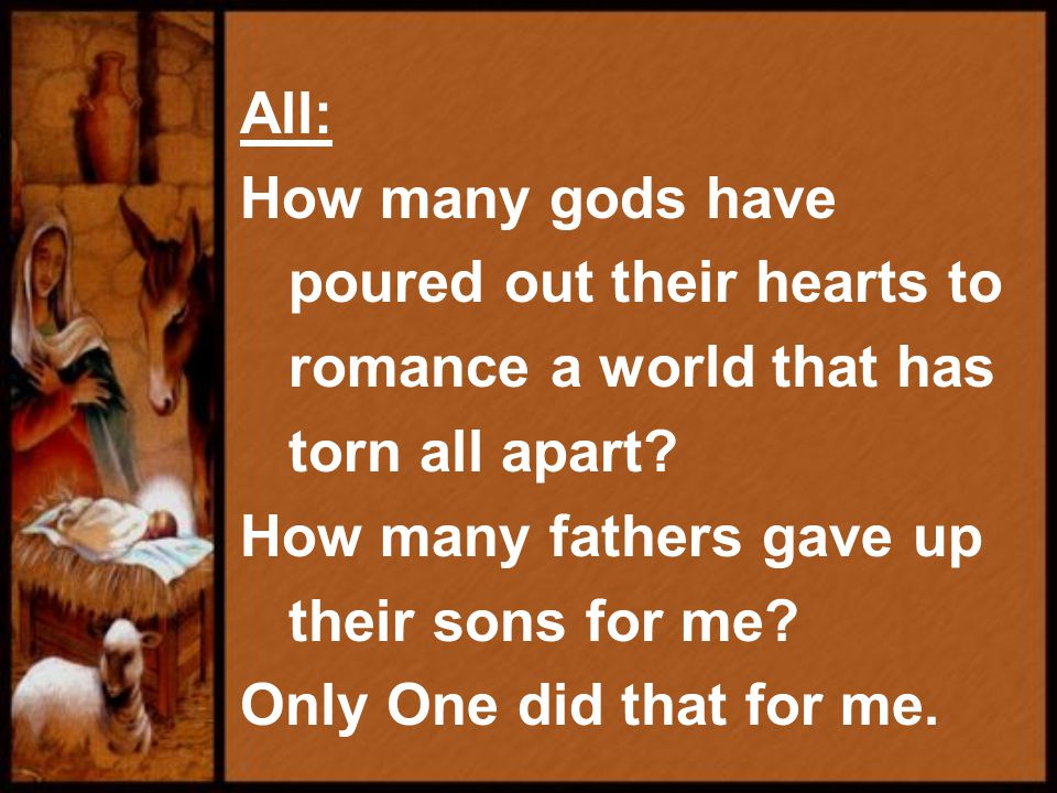 All: How many gods have poured out their hearts to romance a world that has torn all apart.
