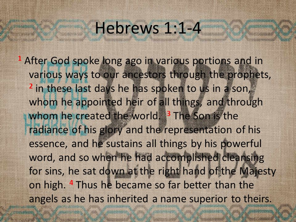 Hebrews 1:3 King – Jesus is the King sitting at God's (the Majesty on High) right hand – Psalm 110:1 …Sit down at my right hand until I make your enemies your footstool! – Jesus quotes Psalm 110, referring to Himself, In Matt 26:64, Mk 12:36, Luke 20:41-44, 22:69 – Being at the right hand is a place/position of favor