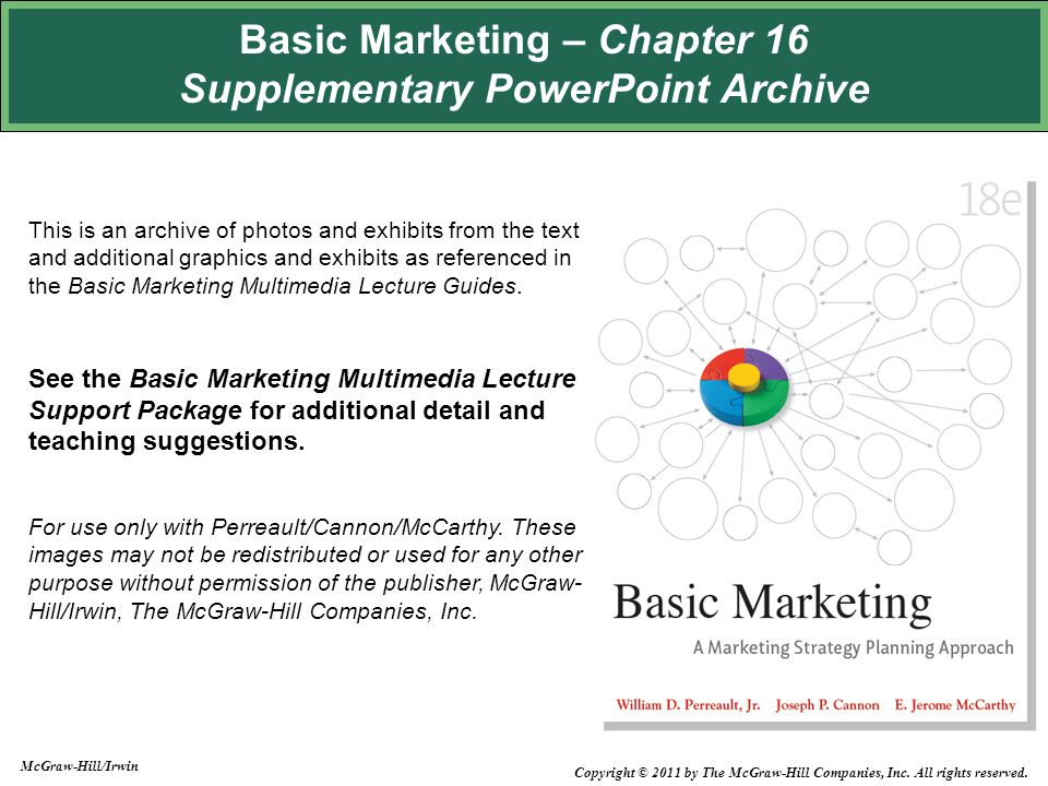 Basic Marketing – Chapter 16 Supplementary PowerPoint Archive This is an archive of photos and exhibits from the text and additional graphics and exhibits as referenced in the Basic Marketing Multimedia Lecture Guides.