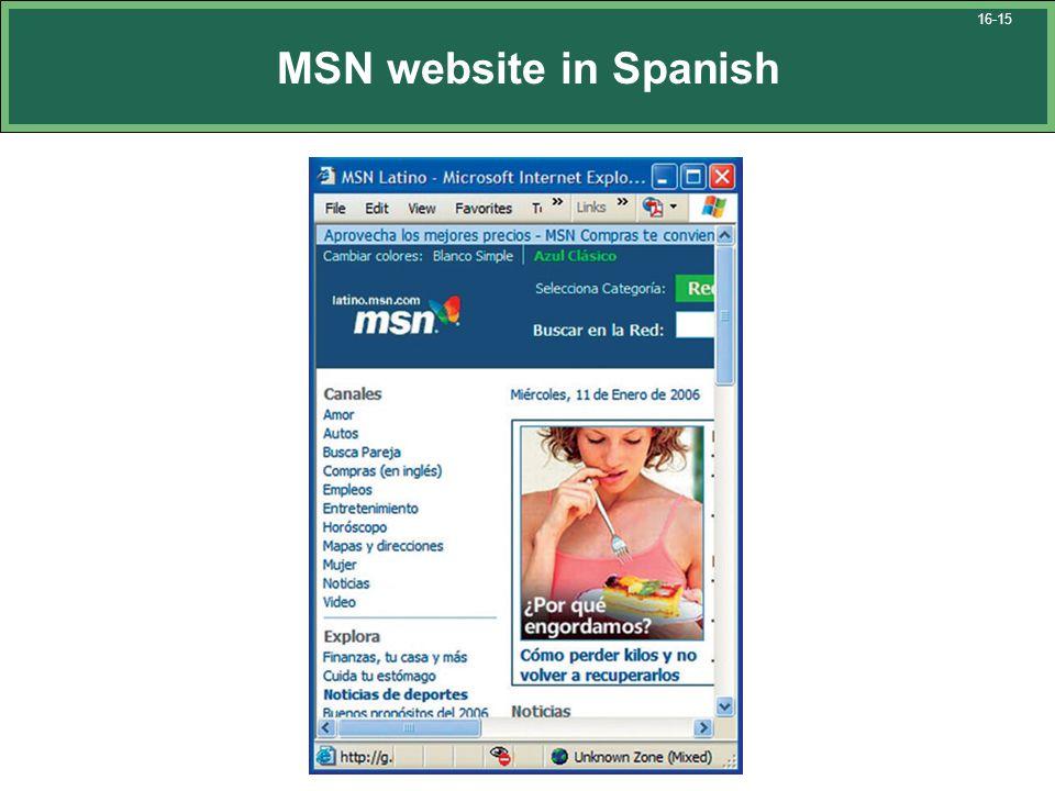 MSN website in Spanish 16-15