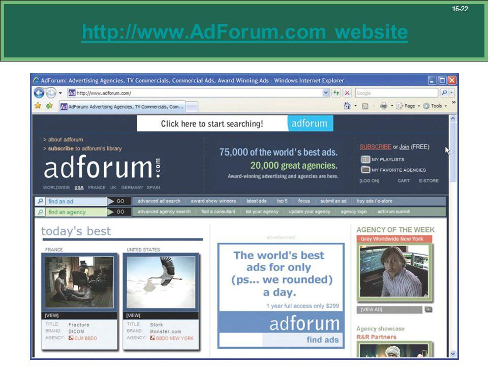 http://www.AdForum.com website 16-22