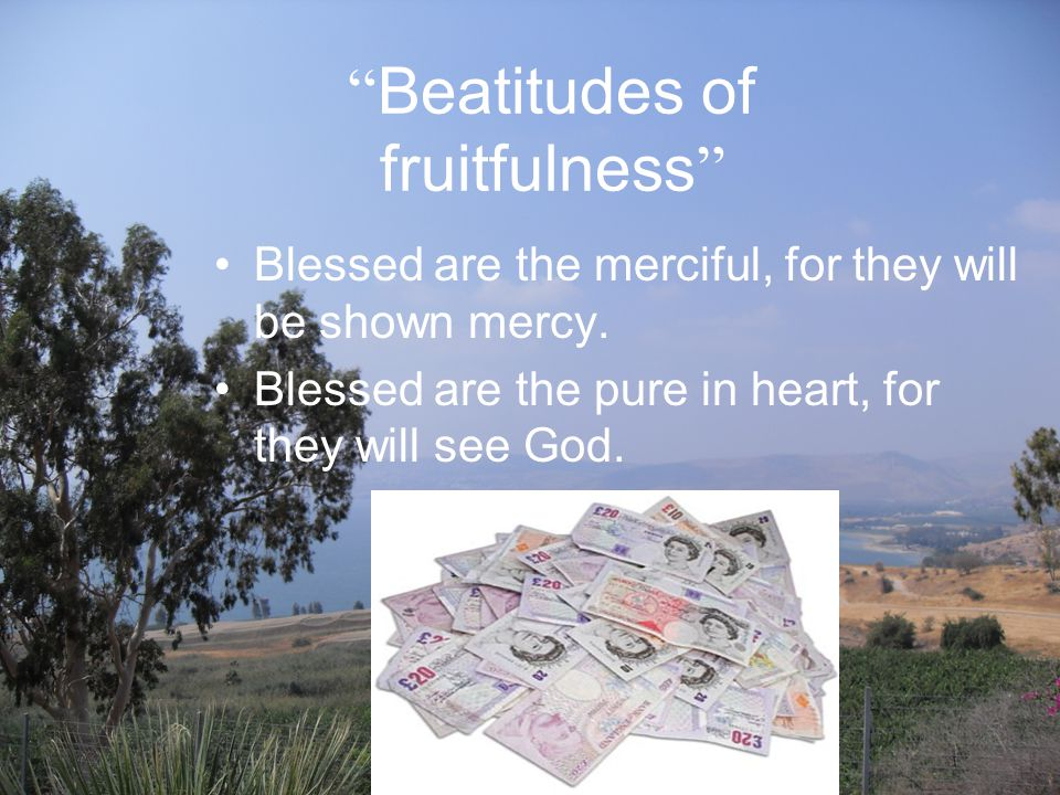 Beatitudes of fruitfulness Blessed are the merciful, for they will be shown mercy.