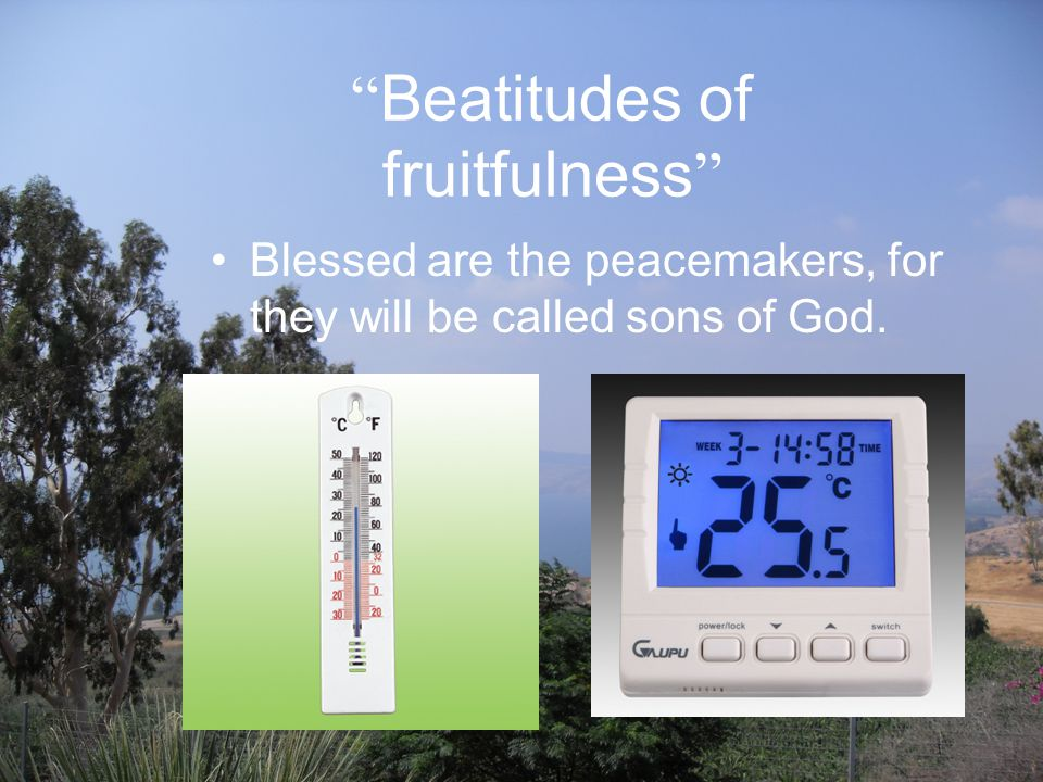 Beatitudes of fruitfulness Blessed are the peacemakers, for they will be called sons of God.