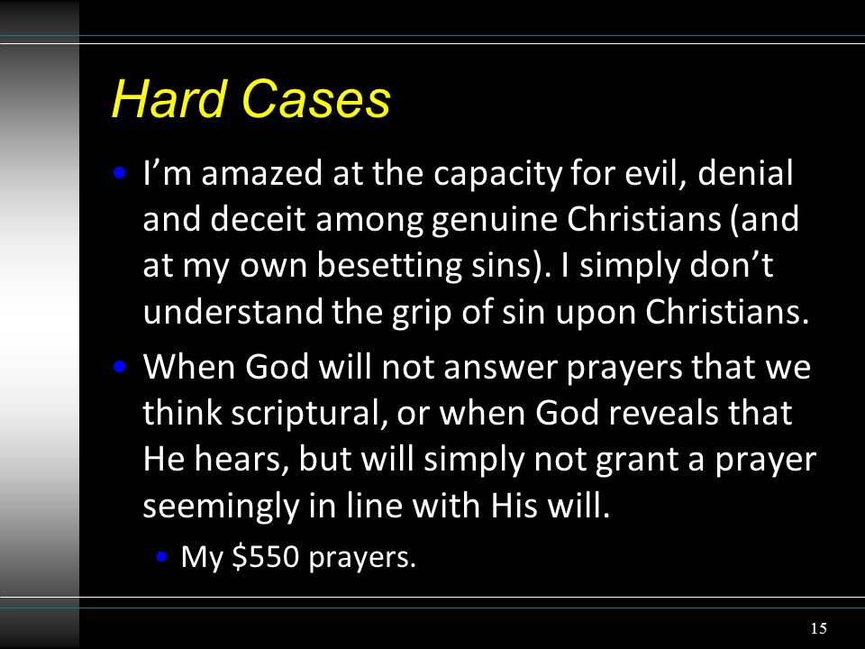 Hard Cases I'm amazed at the capacity for evil, denial and deceit among genuine Christians (and at my own besetting sins).