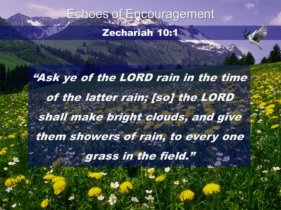 "Zechariah 10:1 ""Ask ye of the LORD rain in the time of the latter rain; [so] the LORD shall make bright clouds, and give them showers of rain, to ever"