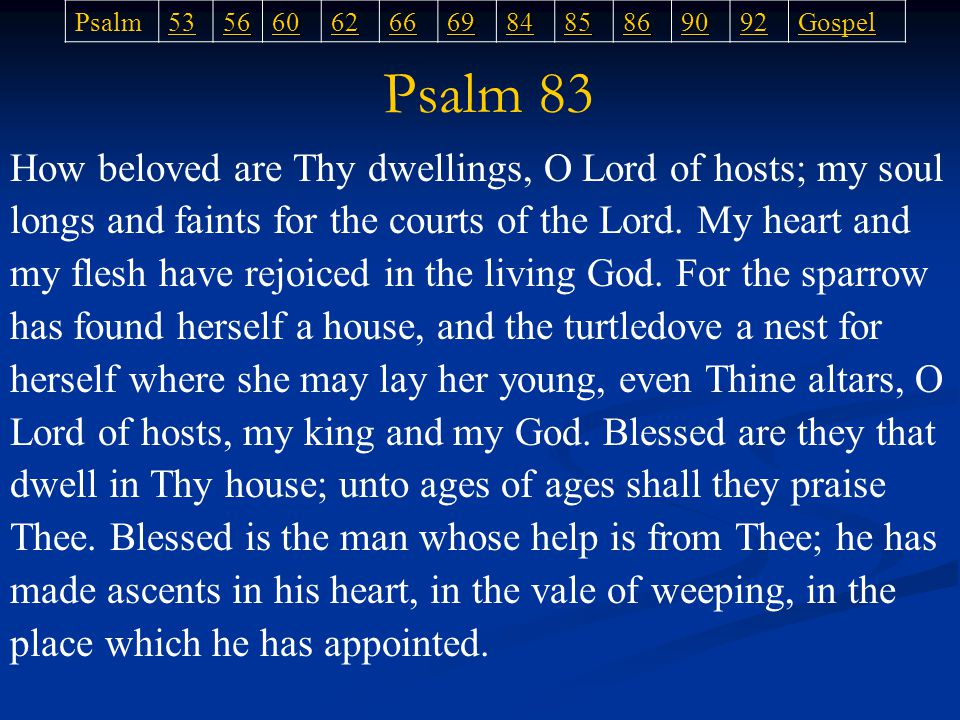 How beloved are Thy dwellings, O Lord of hosts; my soul longs and faints for the courts of the Lord.