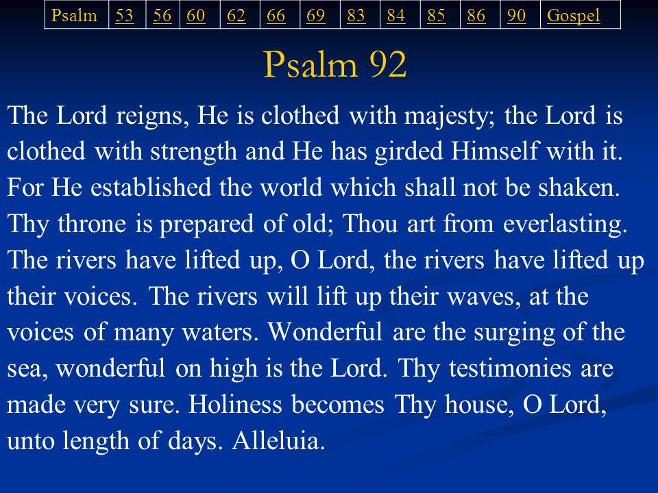 The Lord reigns, He is clothed with majesty; the Lord is clothed with strength and He has girded Himself with it.