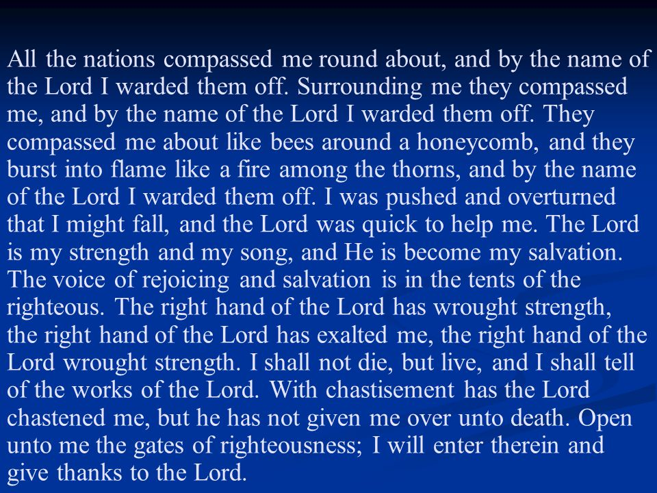 All the nations compassed me round about, and by the name of the Lord I warded them off.