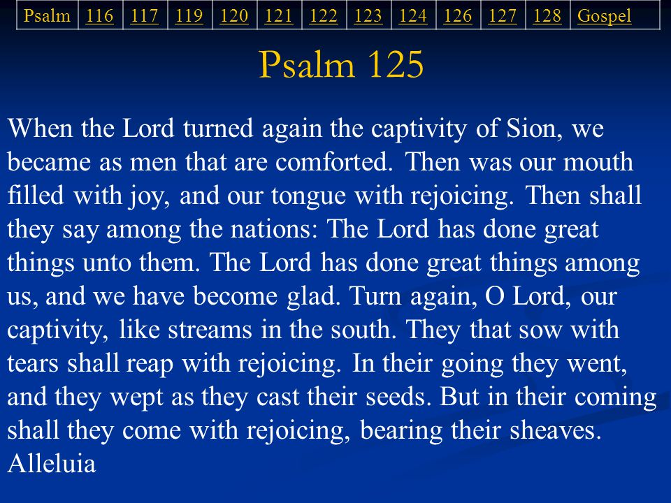 Psalm 125 When the Lord turned again the captivity of Sion, we became as men that are comforted.