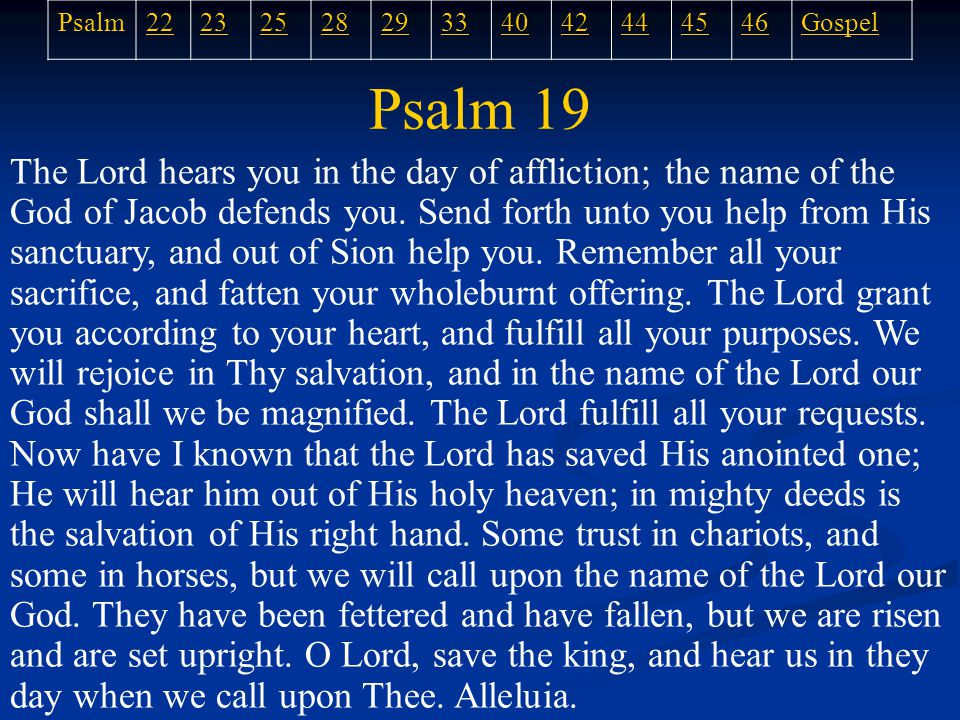 Psalm 19 The Lord hears you in the day of affliction; the name of the God of Jacob defends you.