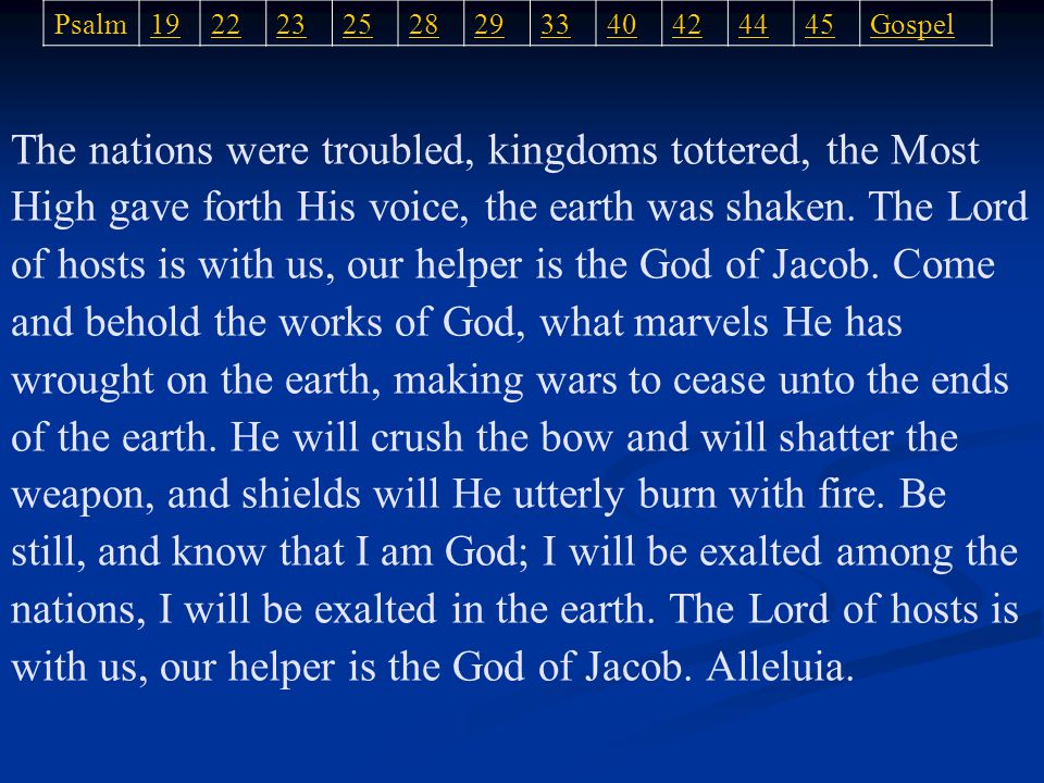 The nations were troubled, kingdoms tottered, the Most High gave forth His voice, the earth was shaken.
