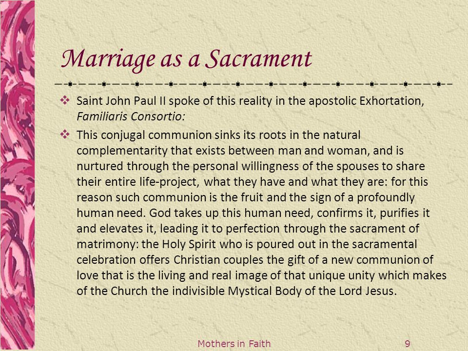 Mothers in Faith 20 Reflection Question  Think back our first reflection of the married couple whom you admire.