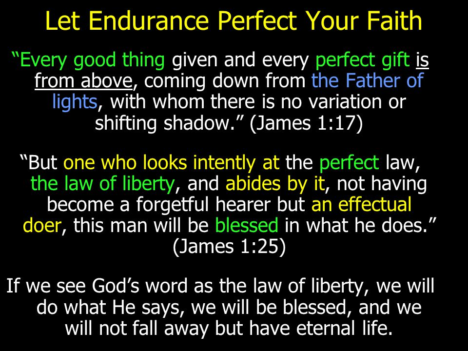 "Let Endurance Perfect Your Faith ""Every good thing given and every perfect gift is from above, coming down from the Father of lights, with whom there"