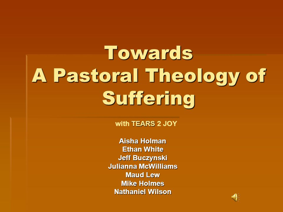 Towards A Pastoral Theology of Suffering Aisha Holman Ethan White Jeff Buczynski Julianna McWilliams Maud Lew Mike Holmes Nathaniel Wilson TEARS with TEARS 2 JOY