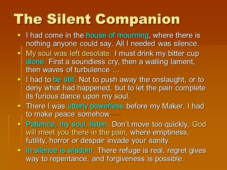 The Silent Companion  I had come in the house of mourning, where there is nothing anyone could say.