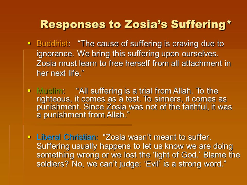 Responses to Zosia's Suffering*  Liberal Christian: Zosia wasn't meant to suffer.