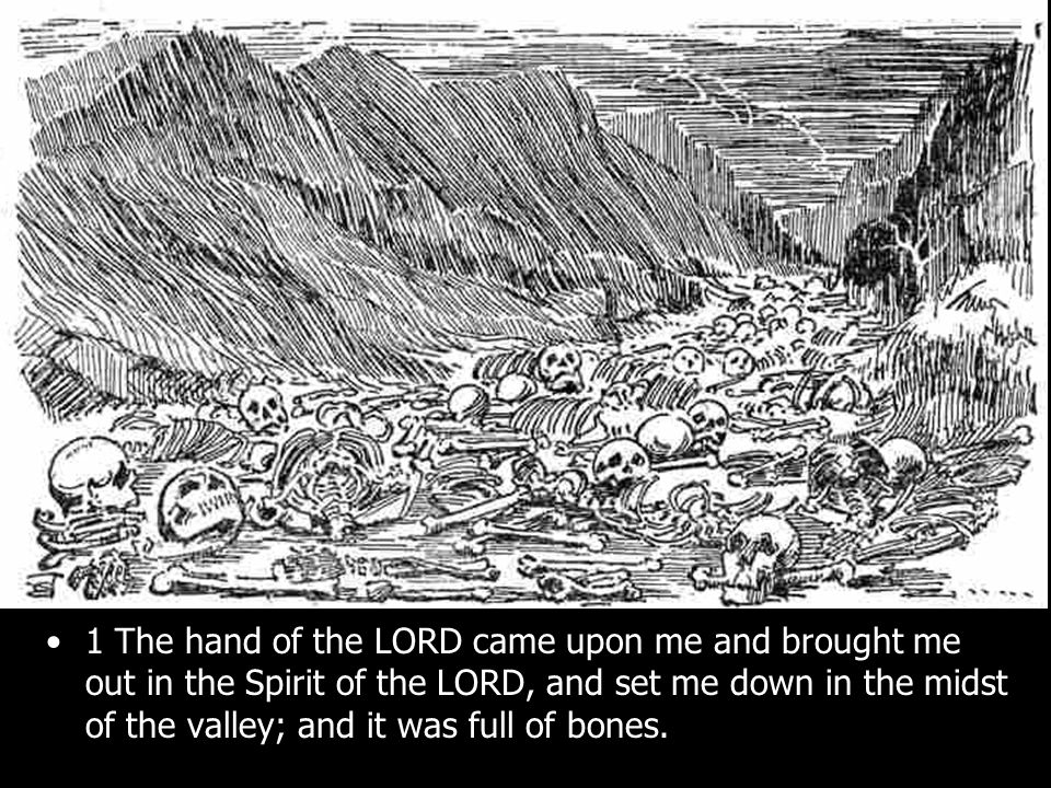 1 The hand of the LORD came upon me and brought me out in the Spirit of the LORD, and set me down in the midst of the valley; and it was full of bones.