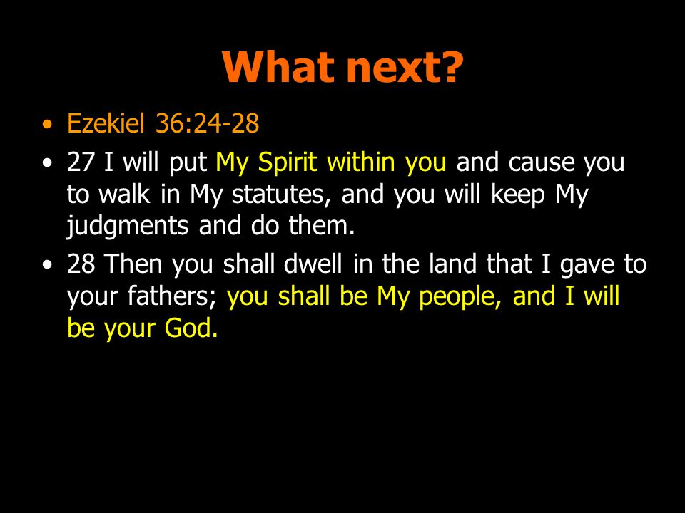 What next? Ezekiel 36:24-28 27 I will put My Spirit within you and cause you to walk in My statutes, and you will keep My judgments and do them. 28 Th
