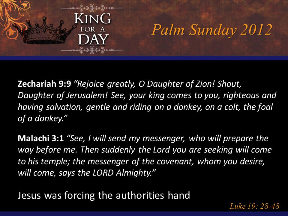 Palm Sunday 2012 Luke 19: 28-48 Zechariah 9:9 Rejoice greatly, O Daughter of Zion.