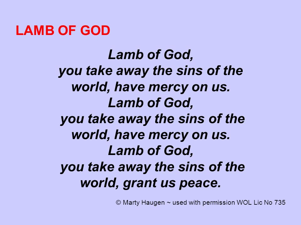 LAMB OF GOD Lamb of God, you take away the sins of the world, have mercy on us.