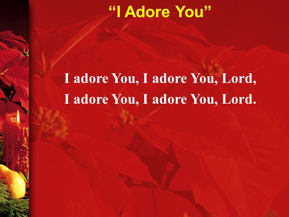 I adore You, I adore You, Lord, I adore You, I adore You, Lord. I Adore You