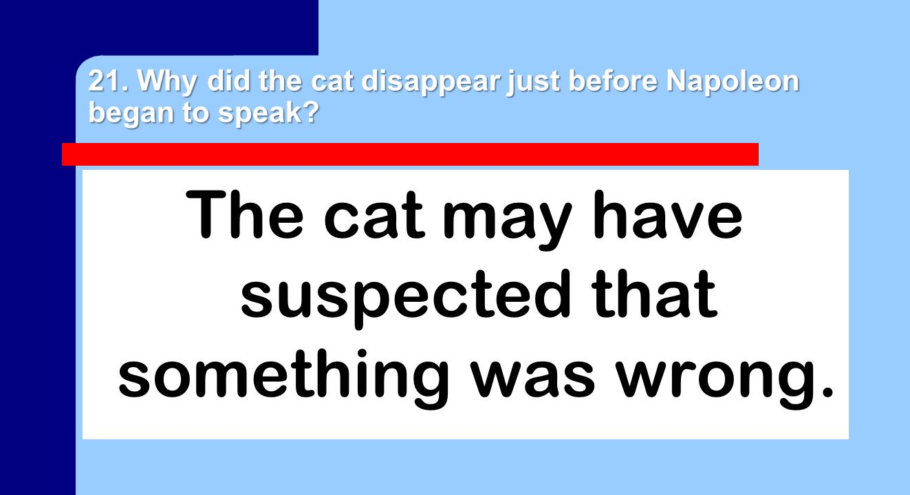 21. Why did the cat disappear just before Napoleon began to speak.