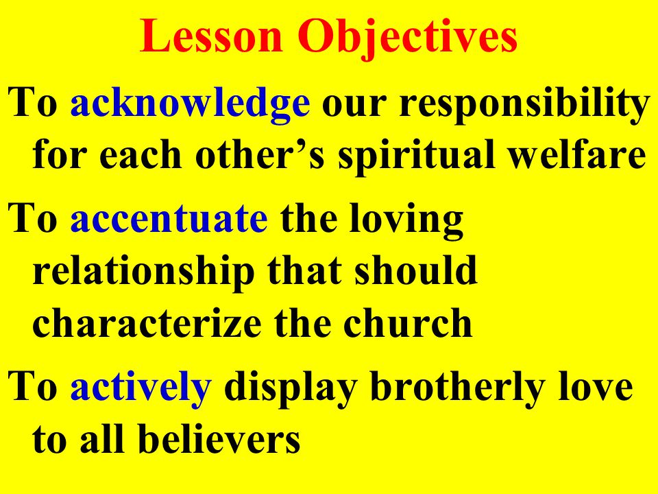 Lesson Objectives To acknowledge our responsibility for each other's spiritual welfare To accentuate the loving relationship that should characterize