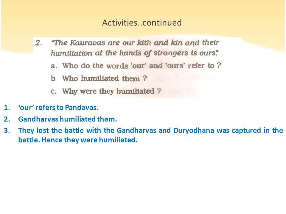 1.'our' refers to Pandavas. 2.Gandharvas humiliated them.