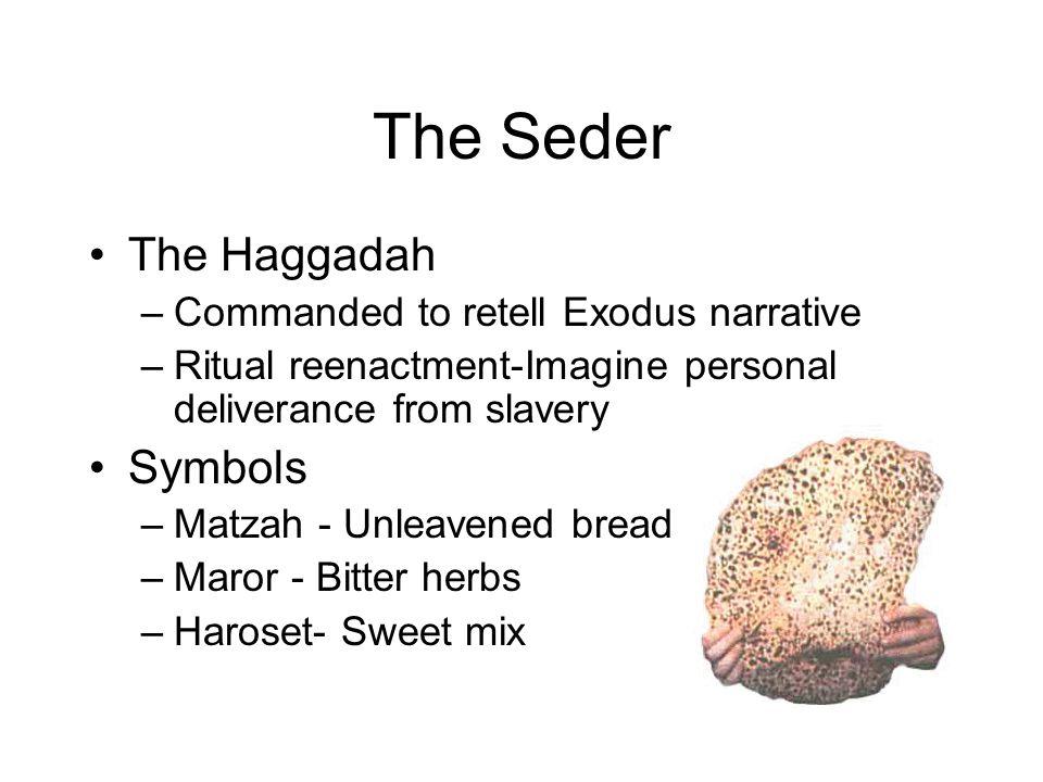 The Seder The Haggadah –Commanded to retell Exodus narrative –Ritual reenactment-Imagine personal deliverance from slavery Symbols –Matzah - Unleavene