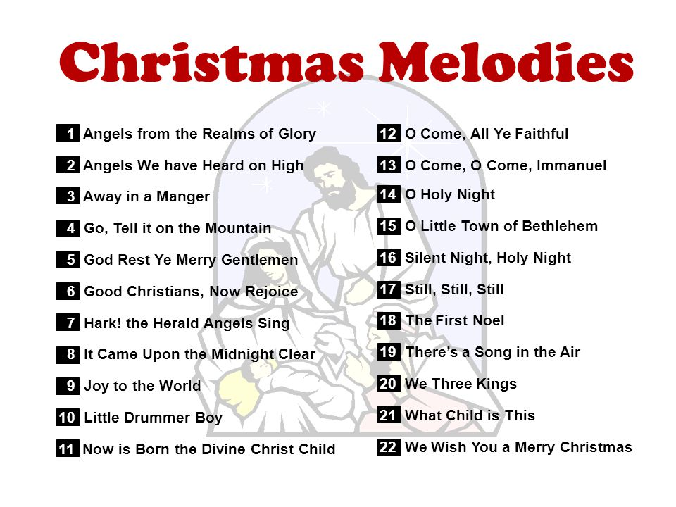 Christmas Melodies 1 Angels from the Realms of Glory 2 Angels We have Heard on High 3 Away in a Manger 4 Go, Tell it on the Mountain 5 God Rest Ye Merry Gentlemen 6 Good Christians, Now Rejoice 7 Hark.