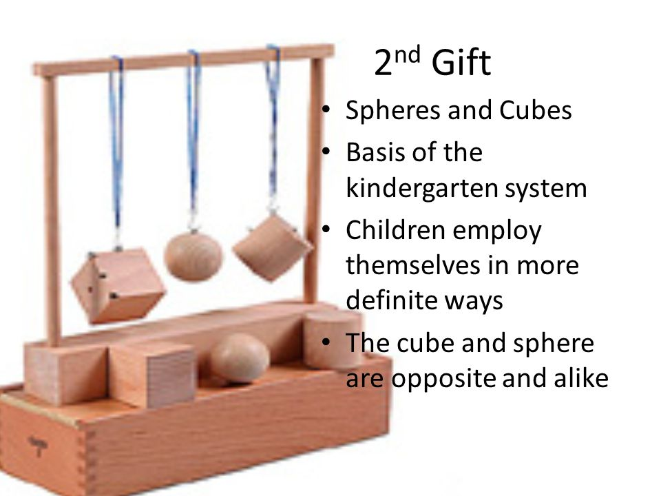 2 nd Gift Spheres and Cubes Basis of the kindergarten system Children employ themselves in more definite ways The cube and sphere are opposite and alike