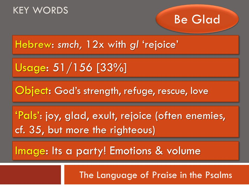 The Language of Praise in the Psalms Hebrew: smch, 12x with gl 'rejoice' Usage: 51/156 [33%] KEY WORDS Be Glad Image: Its a party.