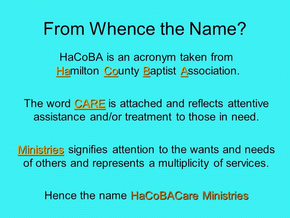 From Whence the Name. HaCoBA HaCoBA is an acronym taken from Hamilton County Baptist Association.